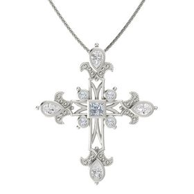 Princess Diamond 14K White Gold Necklace with White Sapphire & Diamond