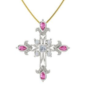 Princess Diamond 14K White Gold Necklace with Pink Sapphire & Diamond