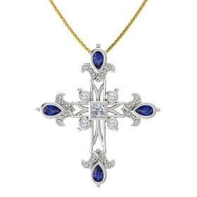 Princess Diamond 14K White Gold Pendant with Blue Sapphire and Diamond
