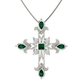Princess Emerald 14K White Gold Pendant with Emerald and Diamond