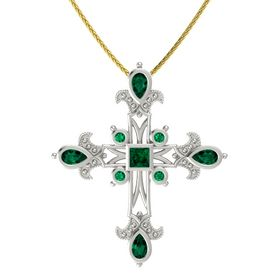 Princess Emerald 14K White Gold Necklace with Emerald