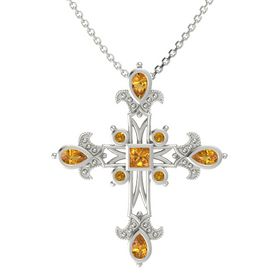 Princess Citrine 14K White Gold Pendant with Citrine