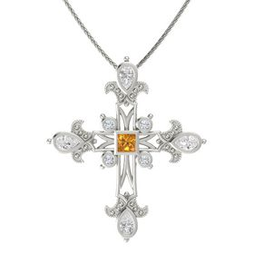 Princess Citrine 14K White Gold Pendant with White Sapphire and Diamond