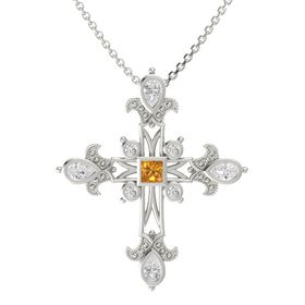 Princess Citrine 14K White Gold Pendant with White Sapphire
