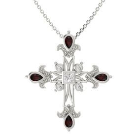Princess White Sapphire 14K White Gold Pendant with Red Garnet and White Sapphire