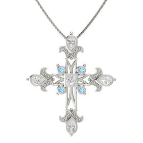 Princess White Sapphire 14K White Gold Pendant with White Sapphire and Blue Topaz