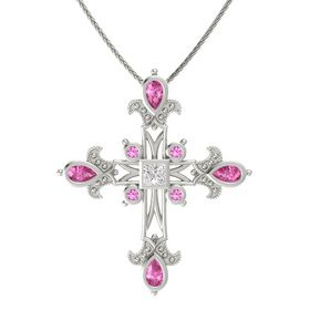 Princess White Sapphire 14K White Gold Pendant with Pink Sapphire