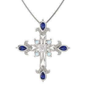 Princess White Sapphire 14K White Gold Pendant with Blue Sapphire and Aquamarine