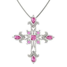 Princess Pink Sapphire 14K White Gold Pendant with Pink Sapphire