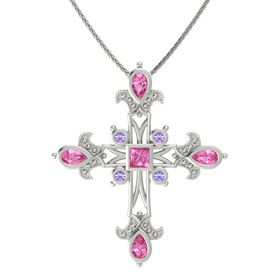Princess Pink Sapphire 14K White Gold Necklace with Pink Tourmaline & Iolite
