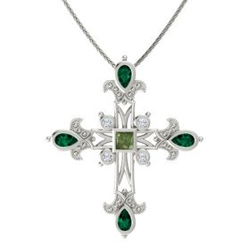Princess Green Tourmaline 14K White Gold Pendant with Emerald and Diamond
