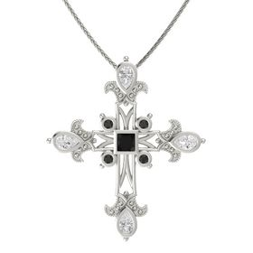Princess Black Onyx 14K White Gold Pendant with White Sapphire and Black Diamond