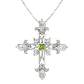 Princess Peridot 14K White Gold Pendant with White Sapphire and Diamond