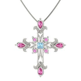 Princess Aquamarine 14K White Gold Pendant with Pink Sapphire