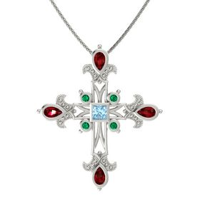 Princess Aquamarine 14K White Gold Pendant with Ruby and Emerald