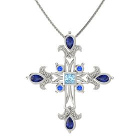 Princess Aquamarine 14K White Gold Necklace with Sapphire