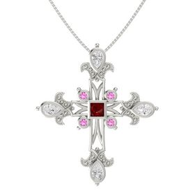 Princess Ruby 14K White Gold Pendant with White Sapphire and Pink Sapphire