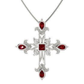 Princess Ruby 14K White Gold Pendant with Ruby and White Sapphire