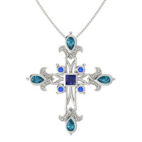 Princess Blue Sapphire 14K White Gold Pendant with London Blue Topaz and Blue Sapphire