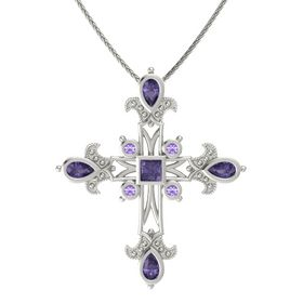 Princess Iolite 14K White Gold Pendant with Iolite