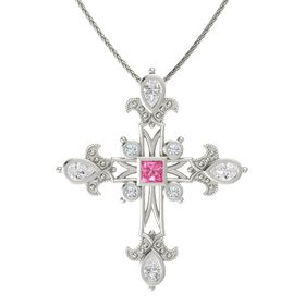 Princess Pink Tourmaline 14K White Gold Pendant with White Sapphire and Diamond