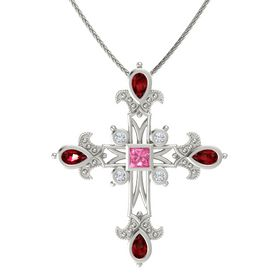 Princess Pink Tourmaline 14K White Gold Pendant with Ruby and Diamond
