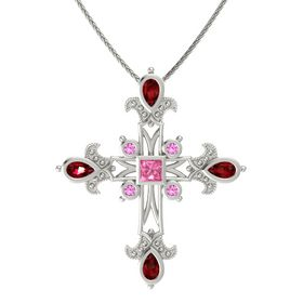 Princess Pink Tourmaline 14K White Gold Pendant with Ruby and Pink Sapphire