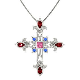 Princess Pink Tourmaline 14K White Gold Pendant with Ruby and Blue Sapphire