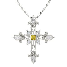Princess Yellow Sapphire 14K White Gold Pendant with White Sapphire and Diamond