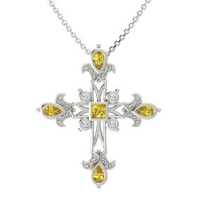 Princess Yellow Sapphire 14K White Gold Pendant with Yellow Sapphire and Diamond