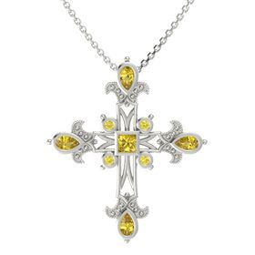 Princess Yellow Sapphire 14K White Gold Pendant with Yellow Sapphire