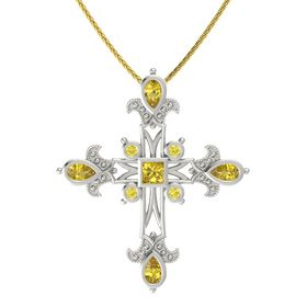 Princess Yellow Sapphire 14K White Gold Necklace with Yellow Sapphire