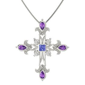 Princess Tanzanite 14K White Gold Necklace with Amethyst & White Sapphire