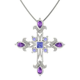 Princess Tanzanite 14K White Gold Necklace with Amethyst & Tanzanite