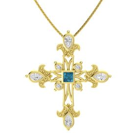Princess London Blue Topaz 14K Yellow Gold Pendant with White Sapphire
