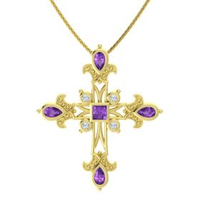 Princess Amethyst 14K Yellow Gold Pendant with Amethyst and Diamond