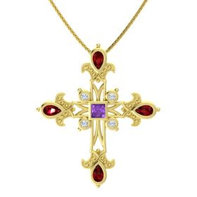 Princess Amethyst 14K Yellow Gold Necklace with Ruby & Diamond