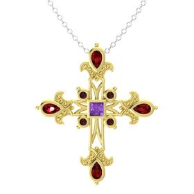 Princess Amethyst 14K Yellow Gold Pendant with Ruby and Red Garnet