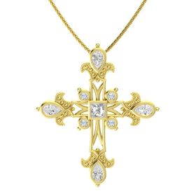 Princess Rock Crystal 14K Yellow Gold Pendant with White Sapphire and Diamond