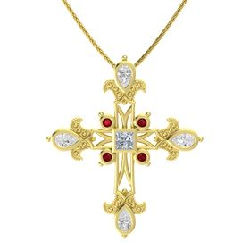 Princess Diamond 14K Yellow Gold Pendant with White Sapphire and Ruby