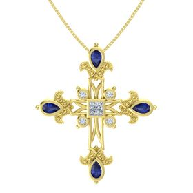 Princess Diamond 14K Yellow Gold Necklace with Sapphire & Diamond