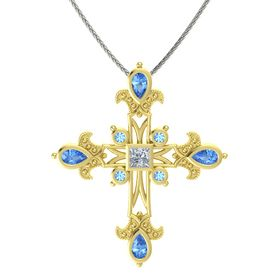 Princess Diamond 14K Yellow Gold Pendant with Blue Topaz