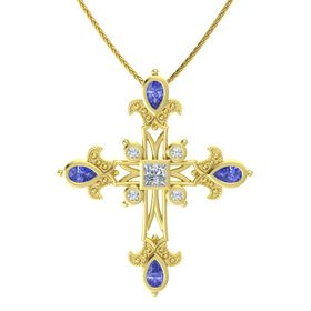 Princess Diamond 14K Yellow Gold Pendant with Tanzanite and Diamond