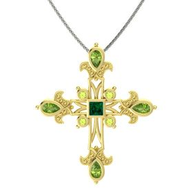 Princess Emerald 14K Yellow Gold Pendant with Peridot