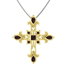 Princess Red Garnet 14K Yellow Gold Pendant with Red Garnet