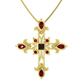 Princess Red Garnet 14K Yellow Gold Necklace with Ruby