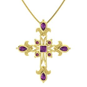 Princess Rhodolite Garnet 14K Yellow Gold Pendant with Rhodolite Garnet