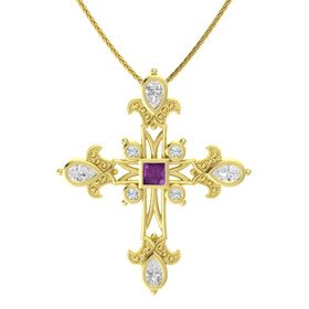 Princess Rhodolite Garnet 14K Yellow Gold Pendant with White Sapphire and Diamond