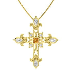 Princess Citrine 14K Yellow Gold Pendant with White Sapphire