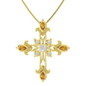Princess White Sapphire 14K Yellow Gold Pendant with Citrine and Diamond